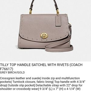 Coach tilly top handle satchel/crossbody